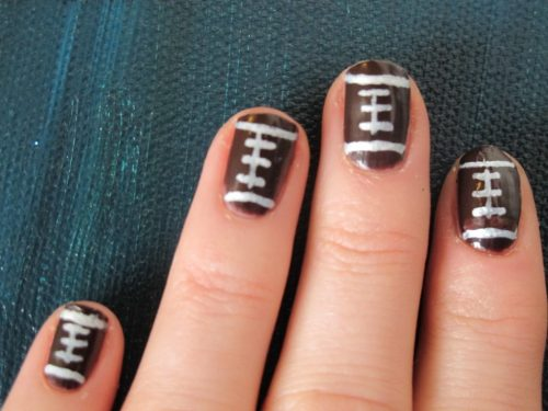 Super Bowl Sunday Football Nail Art