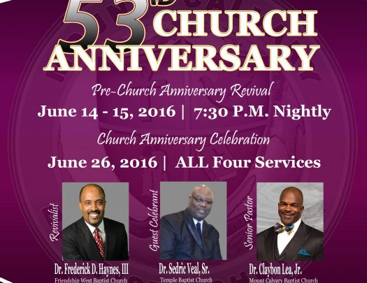 Mount Calvary Baptist Church - 53rd Church Anniversary