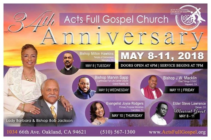 Acts Full Gospel COGIC 34th Anniversary Revival 2018