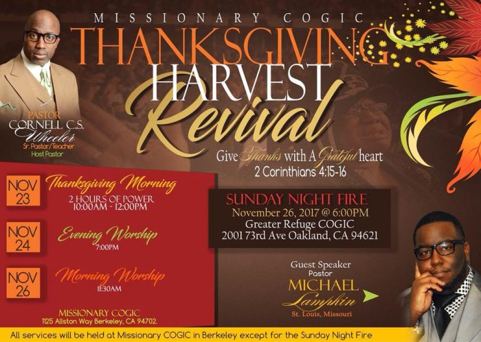 Missionary Church of God in Christ - Thanksgiving Harvest Revival