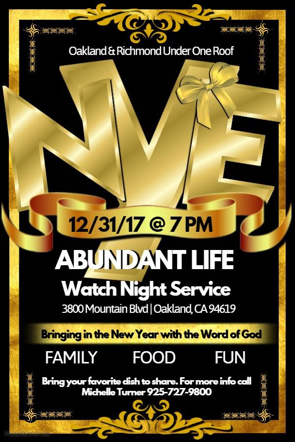 Abundant Life Ccf Watch Night 2017 Faith In The Bay