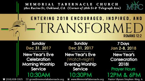 Memorial Tabernacle Church NYE Watch Night