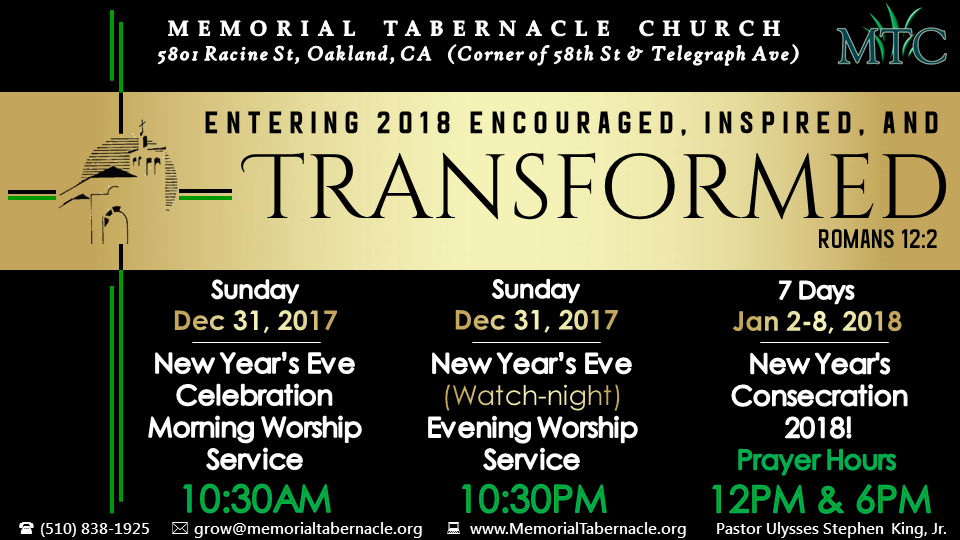 Memorial Tabernacle Church NYE Watch Night