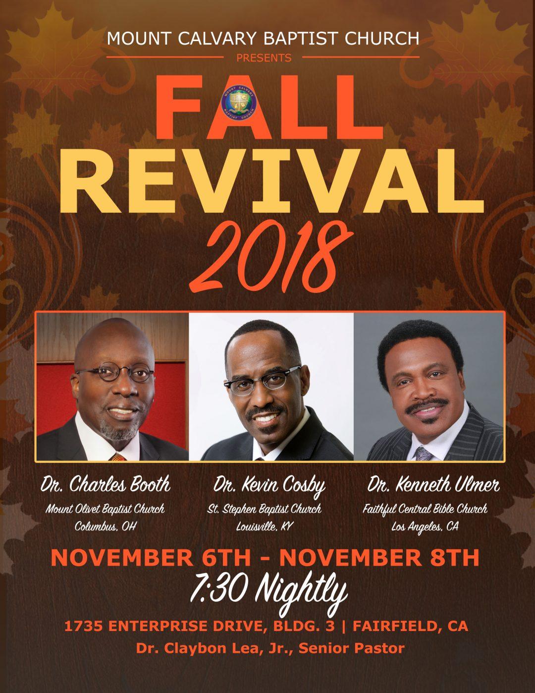 Mount Calvary Baptist Church Fall Revival 2018