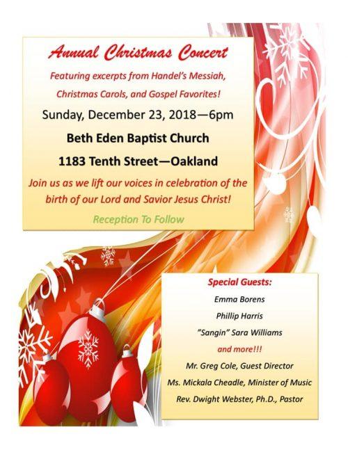 Beth Eden Annual Christmas Concert 2018