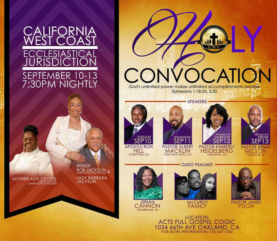 Ca West Coast Jurisdiction Holy Convocation 2019