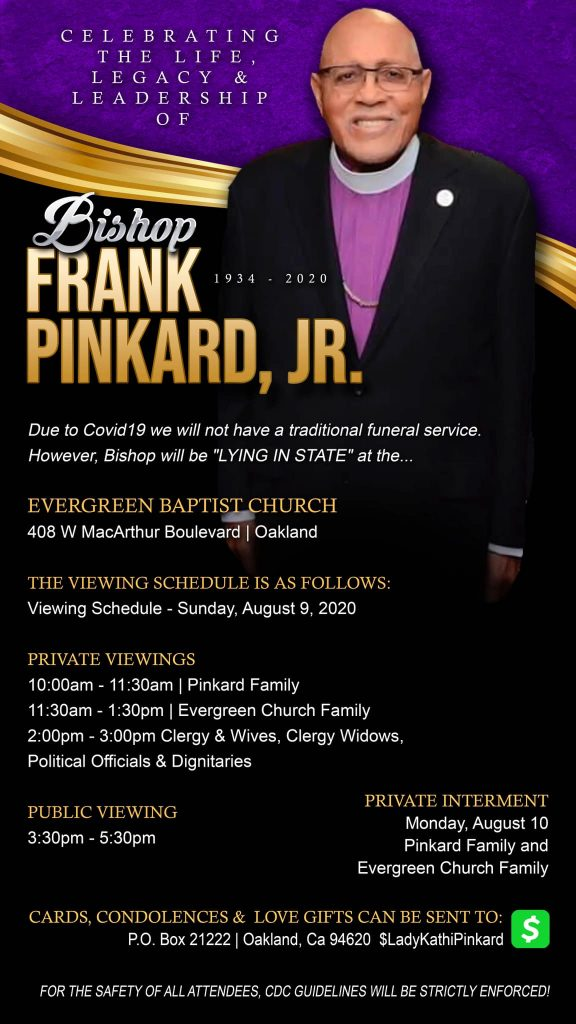 Bishop Frank Pinkard Jr Services Public Viewing